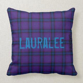 HAMbyWG - Throw Pillow - Deep Violet Blue Plaid