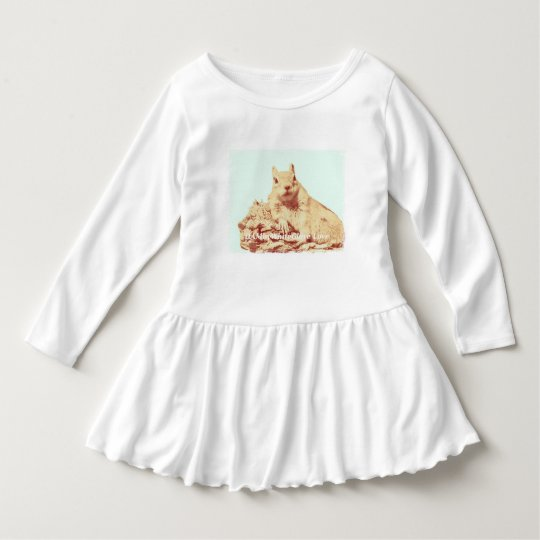 HAMbyWG - Toddler Ruffle Dress - Squirrel Mint BG