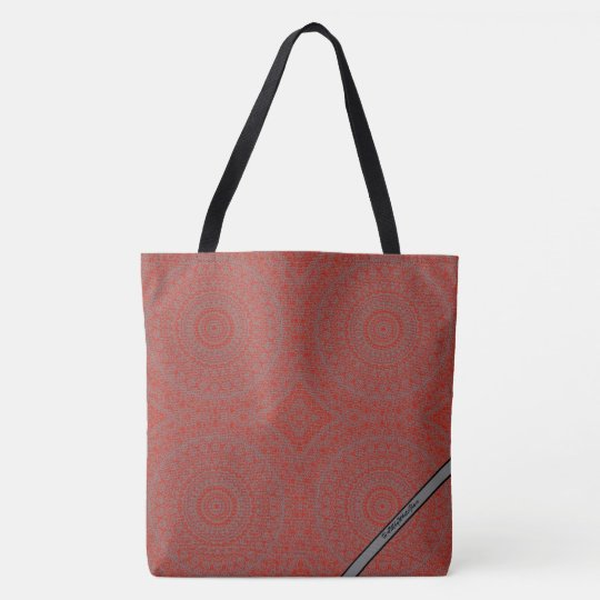 HAMbyWG - Tote Bags - Boho Ink Red & Grey