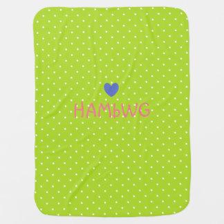 HAMbyWhiteGlove - Baby Blanket - Lime w Polka Dots