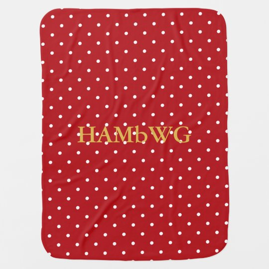 HAMbyWhiteGlove - Baby Blanket - White on Red