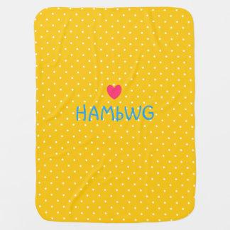 HAMbyWhiteGlove - Baby Blanket - Yellow Polka Dots