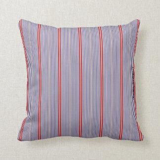 HAMbyWhiteGlove - Blue & Red Mixed Fine Stripes Throw Pillow