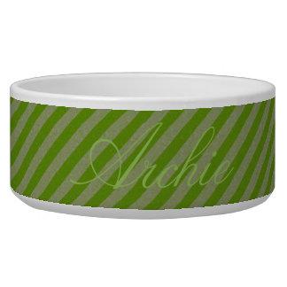 HAMbyWhiteGlove - Dog food Bowl - Green Diagonal