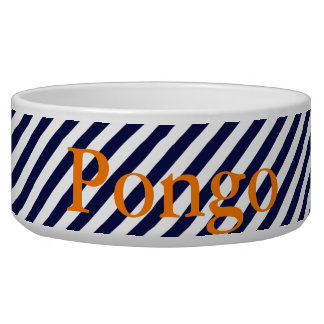 HAMbyWhiteGlove - Dog food Bowl  - Navy white Diag