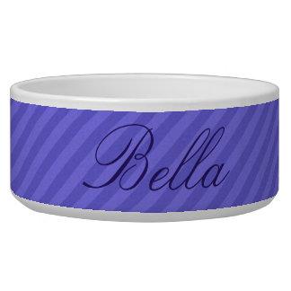 HAMbyWhiteGlove - Dog food Bowl - Purple Diagonal