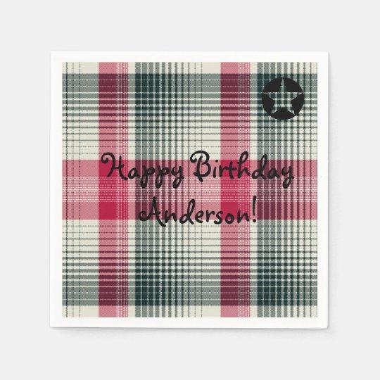 HAMbyWhiteGlove - Paper Napkin - Boy's Plaid