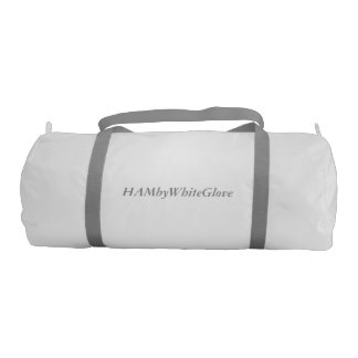 HAMbyWhiteGlove White Gym Bag-Gray straps & letter