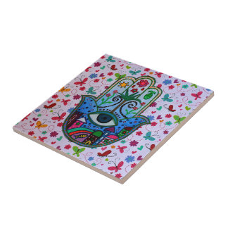 HAMESH BAR BAT MITZVAH HAMSA WHIMSICAL PAINTING TILES