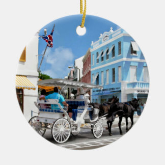 Hamilton Bermuda Carriage Ride Round Ceramic Ornament