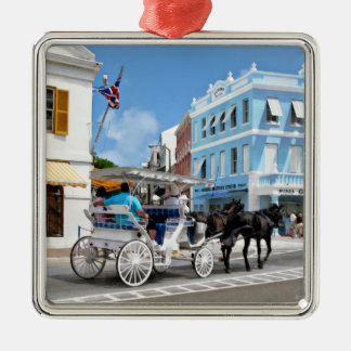 Hamilton Bermuda Carriage Ride Silver-Colored Square Ornament