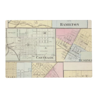 Hamilton, Carthage, Bushnell, Lincoln and LaHarpe Laminated Place Mat