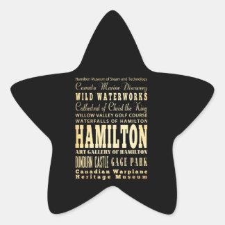 Hamilton City of Ontario Typography Art Star Sticker