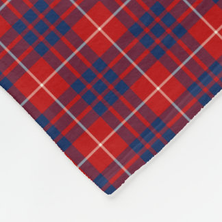Hamilton Clan Bright Blue and Red Tartan Fleece Blanket