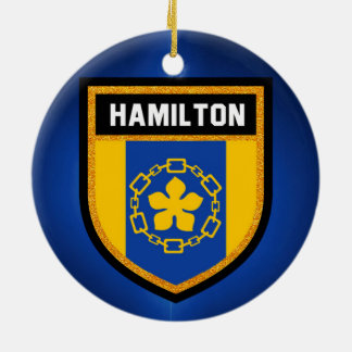 Hamilton Flag Round Ceramic Ornament