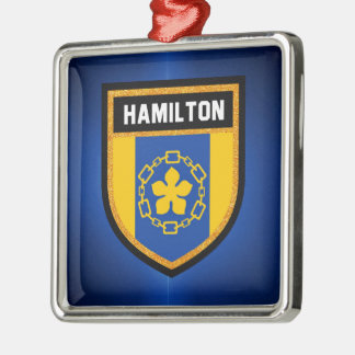 Hamilton Flag Silver-Colored Square Ornament