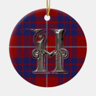 Hamilton Plaid Monogram ornament