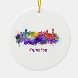 Hamilton skyline in watercolor ceramic ornament