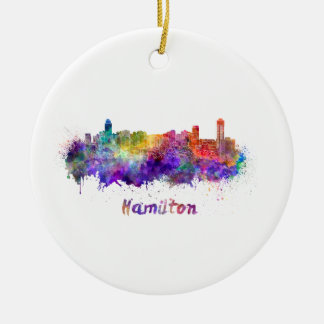 Hamilton skyline in watercolor round ceramic ornament