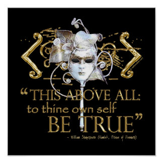 """Hamlet """"own self be true"""" Quote (Gold Version) Poster"""