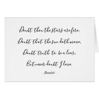 Hamlet Shakespeare Love Quote Valentine Card