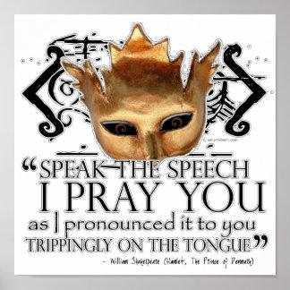 """Hamlet """"Speak the speech ..."""" Poster"""