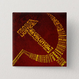 Hammer and Sickle with names and years 2 Inch Square Button