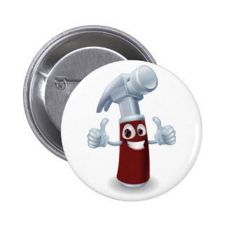 Hammer cartoon character 2 inch round button