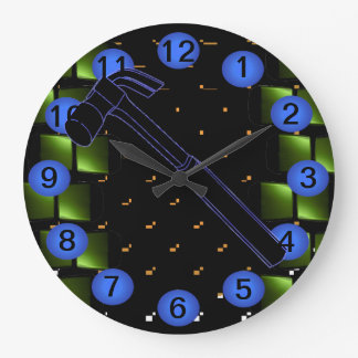 Hammer Construction Building Workshop Clock 12