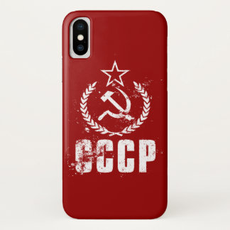 Hammer Sickle White Vintage Flag iPhone X Cases