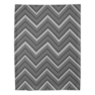 Hammered Metal Chevron City Stripes Duvet Cover