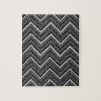 Hammered Metal Chevron City Stripes Jigsaw Puzzle