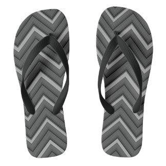 hammered metal chevron striped flip flops
