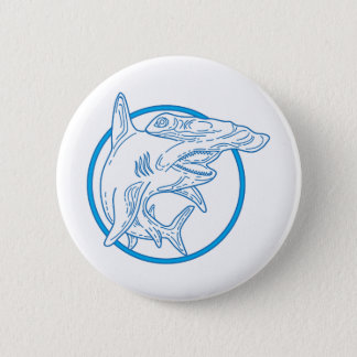Hammerhead Shark Circle Mono Line 2 Inch Round Button