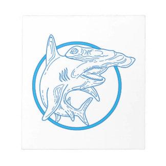 Hammerhead Shark Circle Mono Line Notepad