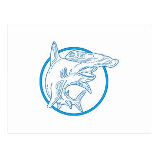 Hammerhead Shark Circle Mono Line Postcard