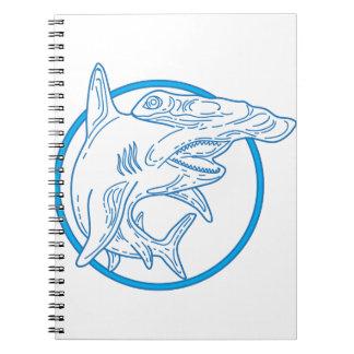 Hammerhead Shark Circle Mono Line Spiral Notebook