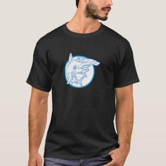 Hammerhead Shark Circle Mono Line T-Shirt