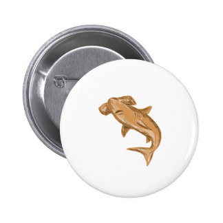 Hammerhead Shark Drawing 2 Inch Round Button