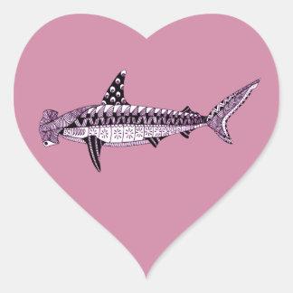 Hammerhead Shark Heart Sticker