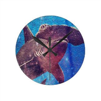 Hammerhead Shark Painting Wall Clocks