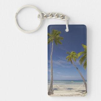 Hammock and palm trees, Plantation Island Resort Double-Sided Rectangular Acrylic Keychain