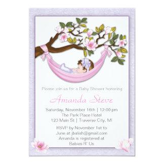 Hammock Girl Baby Shower Invitation- Brunette Hair Card