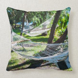 Hammock on the beach, Fiji Throw Pillow