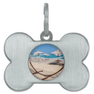 Hammock with beach umbrellas at coast pet tag