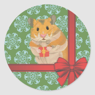 Hammy Christmas Hamster Christmas Classic Round Sticker