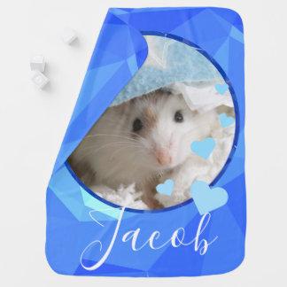 Hammyville - Cute Hamster Blue Love Baby Blanket