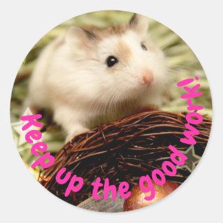 Hammyville - Cute Hamster Keep Up Good Work Classic Round Sticker