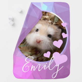 Hammyville - Cute Hamster Love Purple Baby Blanket