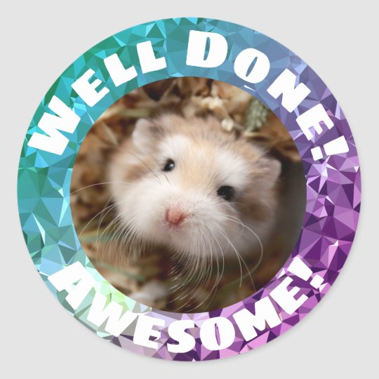 Hammyville - Cute Hamster Sparkly Encouragement Classic Round Sticker
